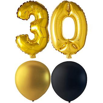 Ballons Birthday Mix 30 ans or/noir