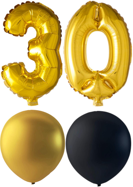 Ballonger födelsedagsmix 30 år guld/svart