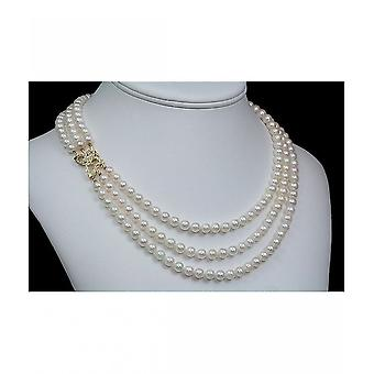 Luna Pearls Pearl Necklace Akoya Breeding Beads 28 Diamonds HKS1