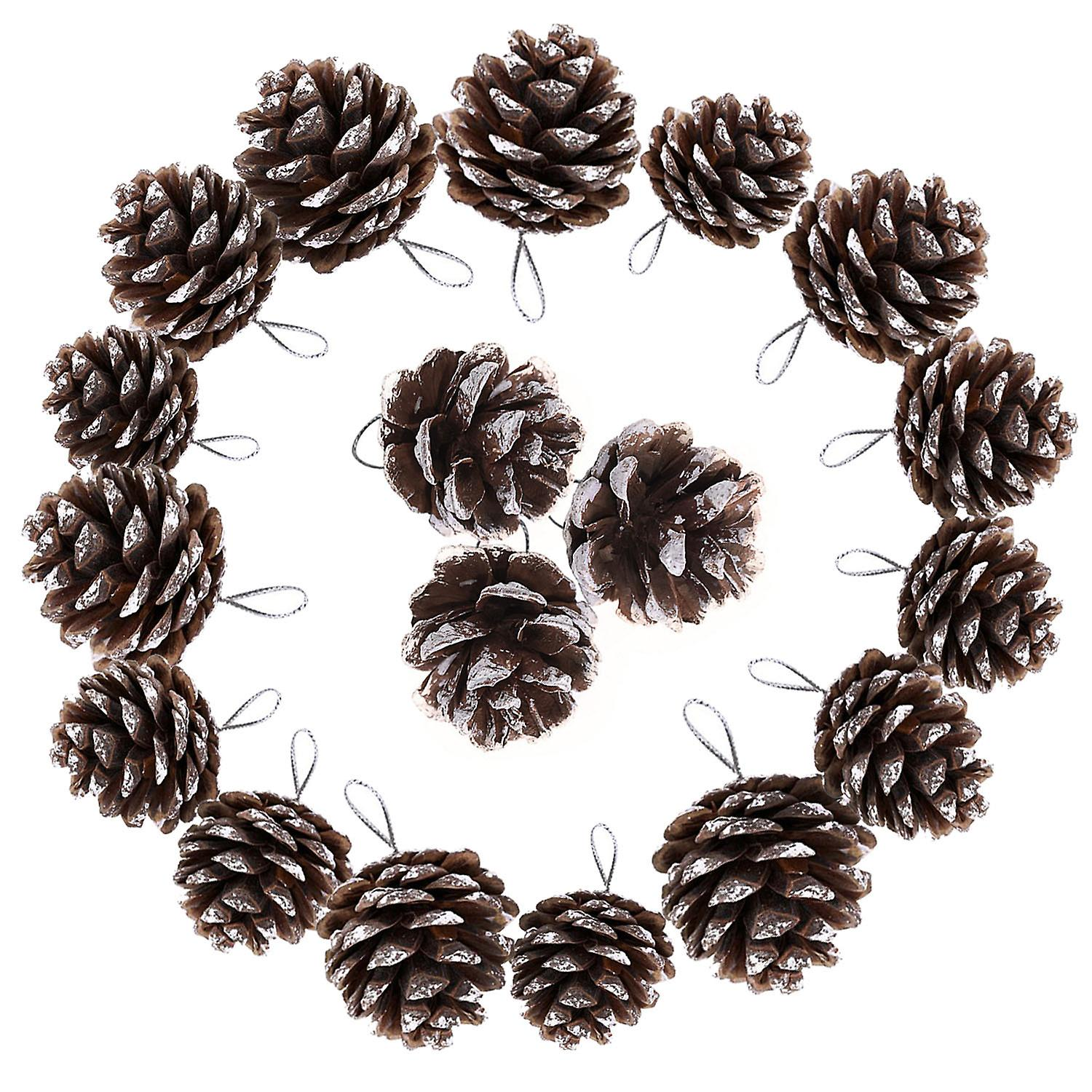 TRIXES Christmas Tree Decorations 18PC Hanging Pine Cones Christmas Baubles