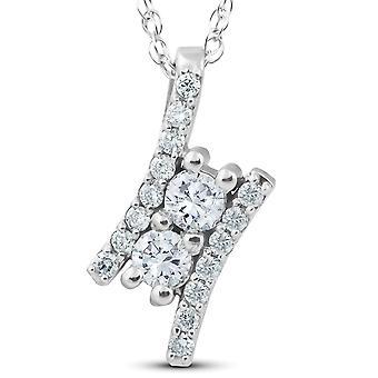 "1/2Ct Forever Us Two Stone Diamond Pendant 14K White Gold 3/4"" Tall"