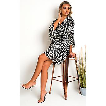 IKRUSH Womens Serina Zebra Print Mini Dress