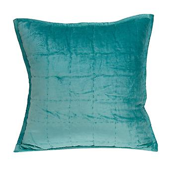 """20"""" x 7"""" x 20"""" Transitional Aqua Solid Quilted Pillow Cover With Poly Insert"""