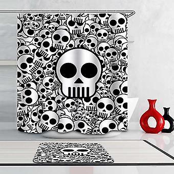 Sort og hvid simpel Skulls Shower gardin