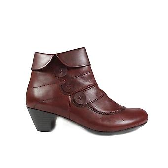 Rieker Sarah 70562-35 Burgundy Leather Womens Ankle Boots