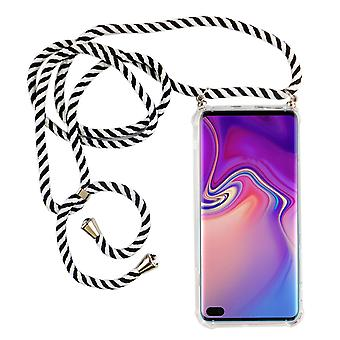 Phone Chain for Samsung Galaxy S10 Plus - Smartphone Necklace Case with Band - Cord with Case to Hang In Black