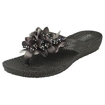 Damen niedrigen Keil Slip-on Sandalen mit Blume Detail