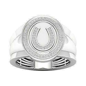 Igi gecertificeerd 10k witgoud 0.18ct tdw natuurlijke diamant hoefijzer mannen's ring