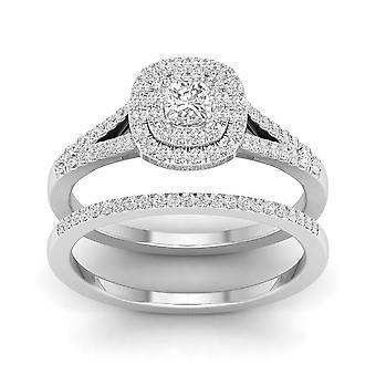 IGI certifié S925 argent 0,50 Ct diamant naturel TDW Halo Double ensemble nuptiale