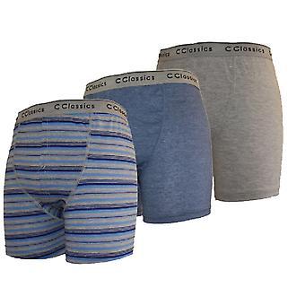3 Pack Mens Cotton Stripe-Plain Boxer Short Wearangas