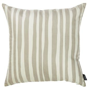 Taupe and White Vertical Stripes Decorative Throw Pillow Cover