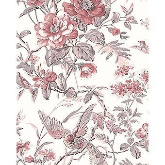Dusty Pink Flower Wallpaper Vintage Somerset House Cream Vinyl Fine Decor