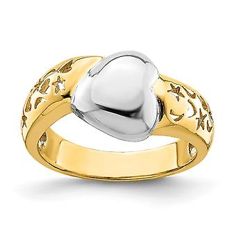 14k com Rhodium High Polish Ring W Love Heart Accent Size 7 Joias Para Mulheres