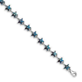 925 plata esterlina Rhodium plateado blue crystal estrellas con 1 pulgada Ext pulsera de 6.25 pulgadas regalos de joyería para las mujeres