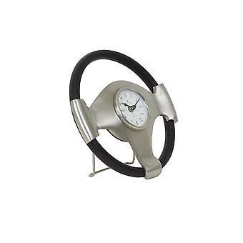 Light & Living Clock 26x5cm Steering Antique Lead-Black