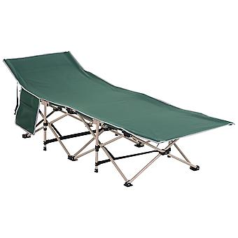Outsunny Single Person Wide Folding Camping Cot Portable Outdoor Military Sleeping Bed Green