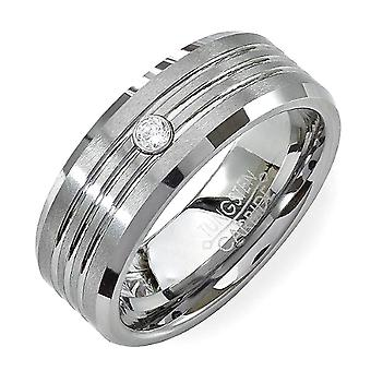 Tungsten Carbide Unisex Ring Wedding Band 8MM Grooved Brushed Solitaire 0.10 CT CZ Cubic Zirconia Beveled Edges Shiny Comfort Fit