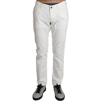 Dolce & Gabbana White Cotton Slim Denim Palm Crown Pants