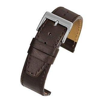 Ремешок для часов из телячьей кожи коричневый с хромированной пряжкой размером от 12 мм до 22 мм