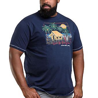 Duke D555 Hombres Collins Big Tall King Tamaño Camiseta Impresa de Cuello - Marina