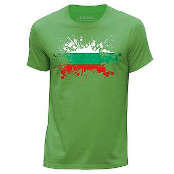STUFF4 Men-apos;s Round Neck T-Shirt/Bulgaria/Bulgarian Flag Splat/Green