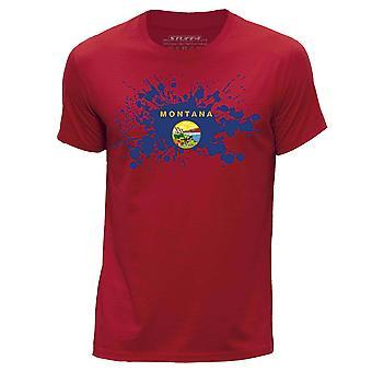 STUFF4 Mannen ronde hals T-T-shirt / / Montana Verenigde STATEN Braziliaanse vlag Splat/rood