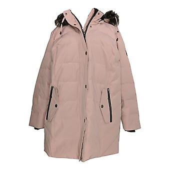 Arctic Expedition Women's Plus Quilted Coat w/ Removable Hood Pink A367602