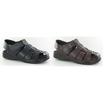 Moza-x Mens Closed Toe Leather Sandals