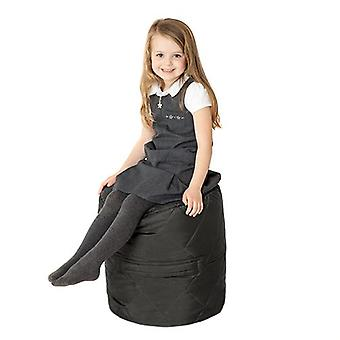 Fun!ture Quilted Round Kids Bean Bag | Outdoor Indoor Living Room Childrens Cylinder Beanbag Seating | Water Resistant | Vibrant Play Kids Colour Seat | High Quality & Comfy (Black)