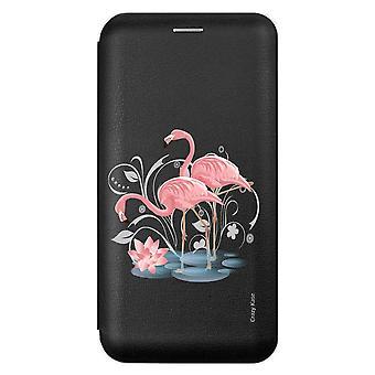 Kotelo iPhone 6s / 6 musta vaaleanpunainen Flamingo Pattern