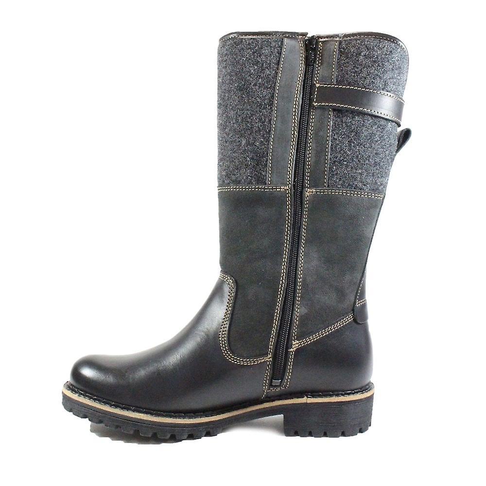 Tamaris 26432 Black Leather Womens Warm Mid Calf Boots