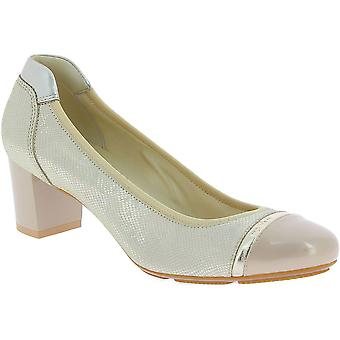 Hogan Women's fashion round toe mid squared heel pumps shoes in gold leather