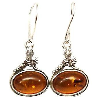 The Olivia Collection Sterling Silver Oval Amber Drop Earrings