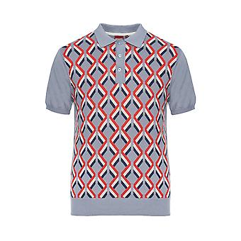 Merc London Jordan Geometric Striped Knitted Polo Shirt
