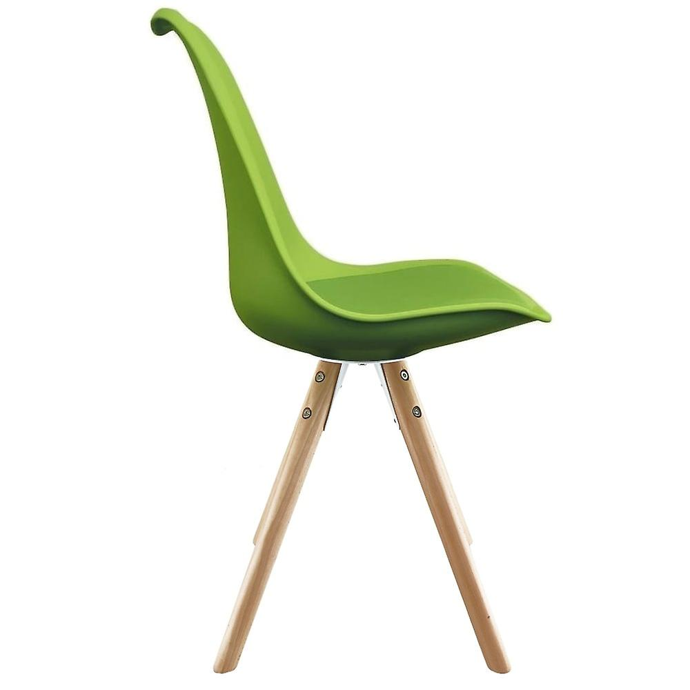 Fusion Living Eiffel Inspired Green Plastic Dining Chair With Pyramid Light Wood Legs
