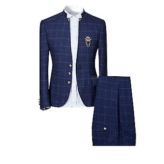 Allthemen Men's Suits 2-Pieces Suits Stand Collar Casual Blazer&Pants