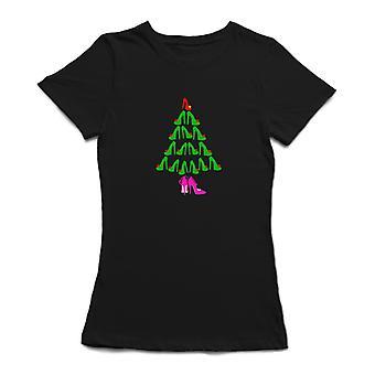Camiseta de tacón alto zapatos Navidad pino árbol mujeres