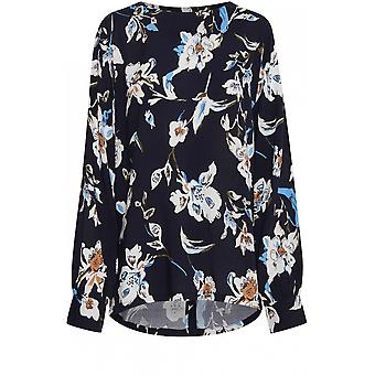 b.young Navy Floral Print Blouse
