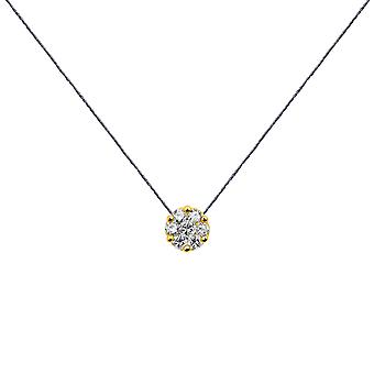 Choker Flower Cluster 18K Gold and Diamonds, on Thread - Yellow Gold, London Grey