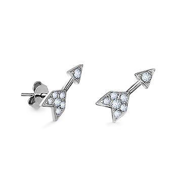 Earrings Stud Arrow Diamonds and 18K Gold (Single Piece) - White Gold