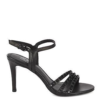 الرماد مرحبا الأحذية الجلدية السوداء الكعب الصنادل