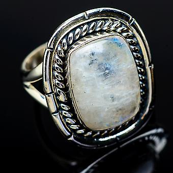 Rainbow Moonstone Ring Size 6.25 (925 Sterling Silver)  - Handmade Boho Vintage Jewelry RING11998