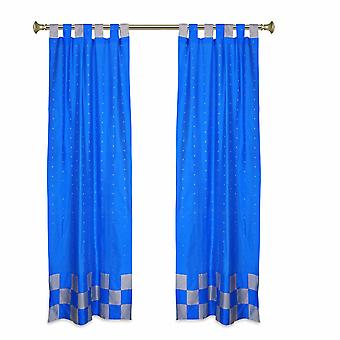 2 Eclectic Coral Indian Sari Curtains Tab Top Curtain drapes