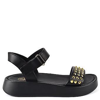 Ash Footwear Vera Black Leather Studded Flatform Sandals