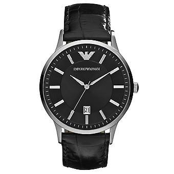 Emporio Armani AR2411 Classic Analog Black Dial Black Leather Men's Watch