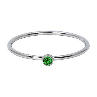 Sterling Silver maj Birthstone Stapling Ring 2mm Grön Cubic Zirconia