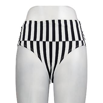 K Jordan Swimsuit Ruched Mid-Rise Bottom Stripe/Black/White Swim Brief