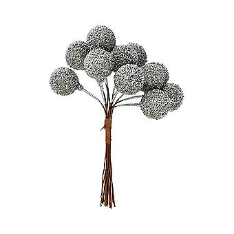 12 Wired Silver Glittered Berries for Christmas Wreaths & Floristry