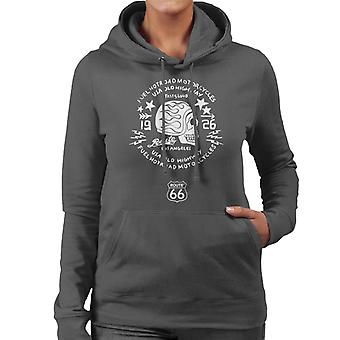 Route 66 USA Old Highway Motorcycles Women's Hooded Sweatshirt