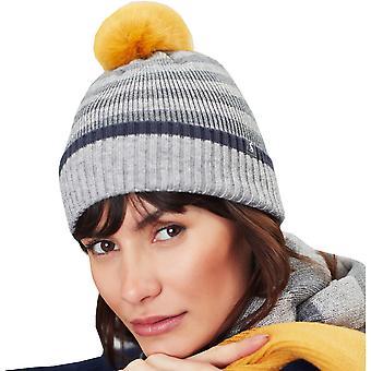 Joules Womens Chillaway Soft Knit Striped PomPom Beanie Hat